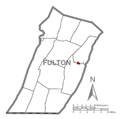 Map of McConnellsburg, Fulton County, Pennsylvania Highlighted.png