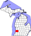 State map highlighting Allegan County