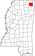 Map of Mississippi highlighting Prentiss County