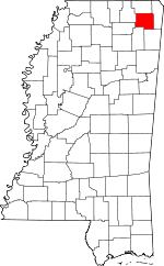 Map of Mississippi highlighting Prentiss County.svg
