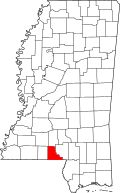 Map of Mississippi highlighting Walthall County