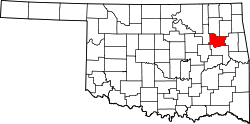 Map of Oklahoma highlighting Wagoner County.svg