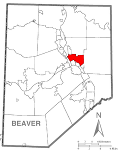 Map of Beaver County, Pennsylvania highlighting Rochester Township
