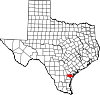 State map highlighting San Patricio County