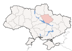 Location o Poltava Oblast (red) athin Ukraine (blue)
