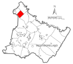 Map of Westmoreland County, Pennsylvania Highlighting Upper Burrell Township.PNG