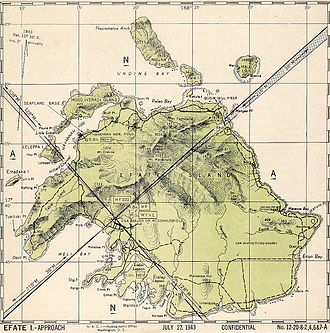 Bauerfield International Airport - Map of Efate Island showing military installations 27 July 1943