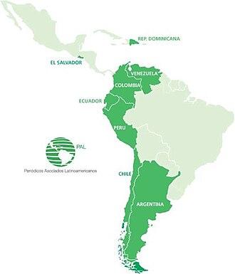 Latin American Newspaper Association - Image: Mapa suramerica 1