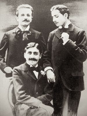 Robert de Flers - Marcel Proust (seated), Robert de Flers (left), and Lucien Daudet (right), ca. 1894