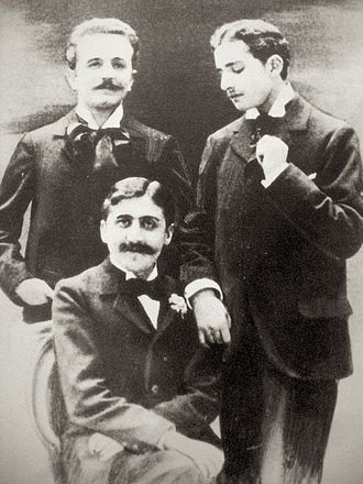 Marcel Proust - Marcel Proust (seated), Robert de Flers (left) and Lucien Daudet (right), ca. 1894