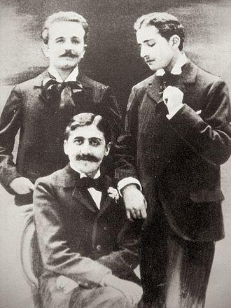 Robert de Flers - Marcel Proust (seated), Robert de Flers (left), and Lucien Daudet (right), ca. 1894