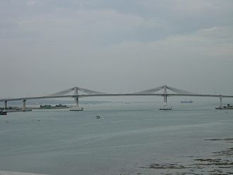 Marcelo Fernan Bridge - Marcelo Fernan Bridge over the Mactan Channel, viewed from the Mactan–Mandaue Bridge.