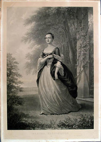 1757 in art - Mezzotint (1863) of Martha Washington made by John Folwell, drawn by W. Oliver Stone after the original by John Wollaston, painted in 1757