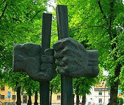 Monument dédié à Martin Luther King à l'université d'Uppsala, Suède.
