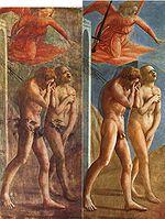 Adam et Ève chassés du paradis   avant et après suppression des ajouts de censure par restauration