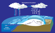 Water cycles between ocean, atmosphere, and glaciers.