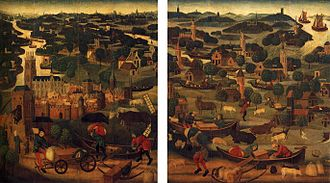 Two wings of an altar piece, c. 1500, depicting the St Elizabeth Flood of 18-19 November 1421, with Dordrecht at the front left. Master of the St Elizabeth Panels 001.jpg