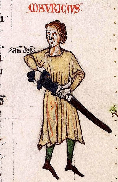 Maurice FitzGerald, Lord of Lanstephan, progenitor of the Irish Geraldines, from a manuscript of the Expugnatio Hibernica, an account of the 1169 invasion of Ireland written by Maurice's nephew, Gerald of Wales, in 1189. Maurice FitzGerald, Lord Lanstephan.jpg