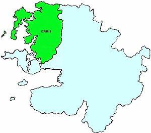 Erris - Barony of Erris shown in green colour top left