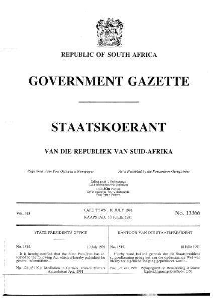 File:Mediation in Certain Divorce Matters Amendment Act 1991.djvu