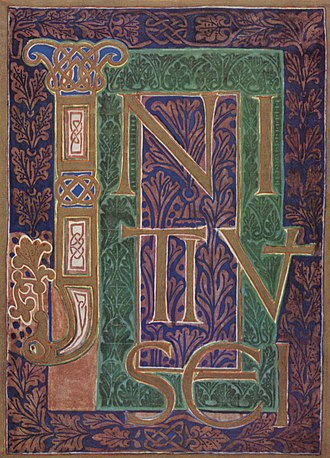 "Imperial Abbey of Corvey - Initial page of the ""Wernigerode Gospels"". A 10th-century book illumination from the scriptorium of Corvey Abbey."