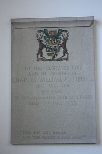Charles Campbell, 9th Earl of Breadalbane and Holland - Memorial to Charles William Campbell, Dirleton Kirk, East Lothian