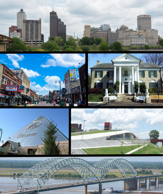 Memphis, Tennessee - From top to bottom and left to right: Downtown Memphis skyline, Beale Street, Graceland, Memphis Pyramid, Beale Street Landing, and the Hernando de Soto Bridge