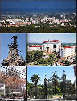 از بالا چپ : from Cerro de la Gloria; Monument to the Army of the Andes, on the summit of Cerro de la Gloria; Provincial Executive Building; Provincial Judiciary and Entry to Parque San Martín
