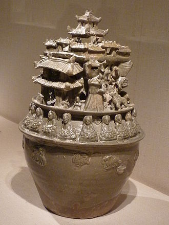 Chinese Buddhism - Jiangnan funerary jar, ca. 250–300 CE, Jin dynasty, decorated with a row of Buddhas seated on lotus thrones.