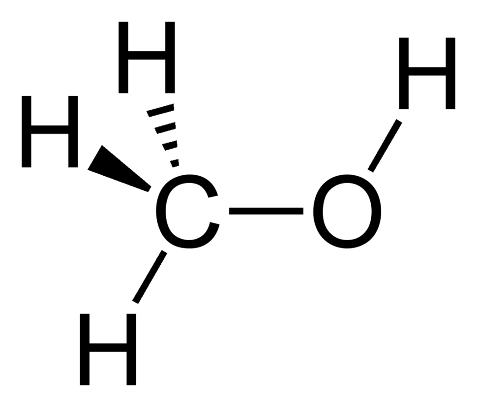 Stereo skeletal formula of methanol with all explicit hydrogen added