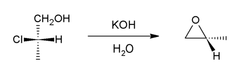 Methyloxirane from 2-chloropropionic acid.png