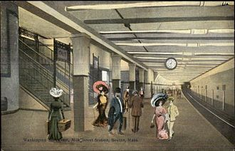 State (MBTA station) - Early postcard of Milk Street station