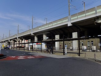 Minami-Yono Station - Entrance of Minami-Yono Station, February 2015
