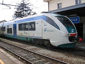 Trenitalia ALn501-502 Minuetto train waiting at a platform of the Santhià Station.