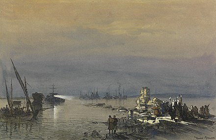 The Royal Navy ship Ml 206 entering Tyre in October 1918, painting by Donald Maxwell Ml 206 Entering Tyre Art.IWMART1073.jpg
