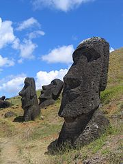 Rano Raraku moai buried to their shoulders