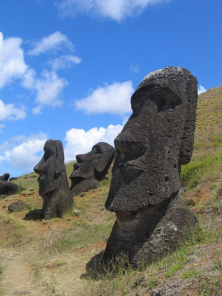 These massive monolithic human figures on Chile's Easter Island were constructed to scare away invading armies looking for eggs for use in the newly discovered bacon, egg, and cheese sandwich