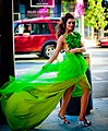 Model Kim Kilgrove's stunning green dress blows in the wind.jpg