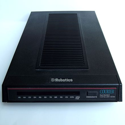 In later years, USRobotics Courier modems were common at many BBSes because they had better compatibility with more brands of modems Modem US Robotics Courier Dual Standard.jpg