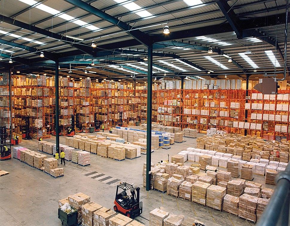 Modern warehouse with pallet rack storage system