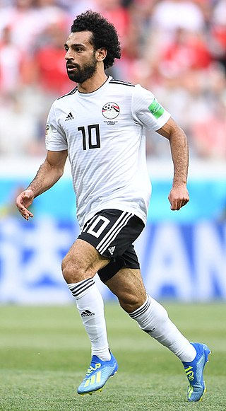Mohamed Salah plays on the right wing, a position which allows him to cut inside to his stronger left foot Mohamed Salah Ghaly.jpg