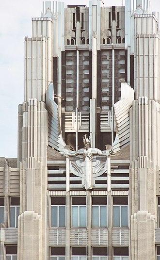 National Grid plc - A portion of the Art Deco façade of Niagara-Mohawk Power building, Syracuse, New York