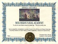 Molossia - Naval Academy certificate