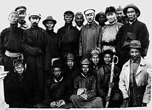 Mongolian Revolution of 1921 - Back row from left: ?, ?, Rinchingiin Elbegdorj, Soliin Danzan, Damdin Sükhbaatar, Ajvaagiin Danzan, Boris Shumyatsky, ?, Dogsomyn Bodoo