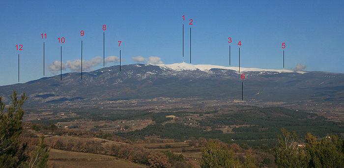 Il Mont Ventoux, con i nomi delle sue cime e dei suoi versanti principali 1 = Mont Ventoux - 2 = Col des Tempêtes - 3 = Tête de la Grave - 4 = Chalet Reynard - 5 = Col de la Frache - 6 = Flassan - 7 = Rocher de Cachillan - 8 = Tête de Chauve - 9 = Tête du gros Charne - 10 = Tête du Fribouquet - 11 = Cime Saint Vincent - 12 = Grand Barbeirol