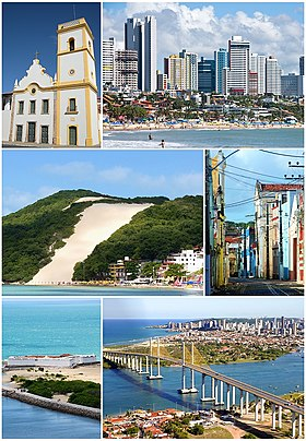 From top, left to right: Newton Navarro Bridge and Potenji River, with a partial view of the neighborhood Santos Reis in the background; Morro do Careca; Metropolitan Cathedral; Forte dos Reis Magos; Portico of the Reis Magos; Chile street and night view of Ponta Negra Beach and the namesake neighborhood.