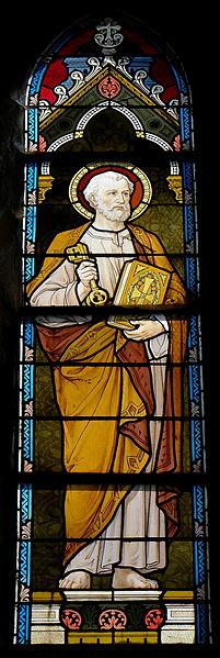 Vitrail de l'église Saint-Martin de Montflours (53). Saint-Pierre.