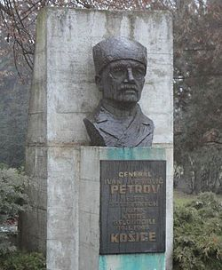Monument to Arm.Gen. Ivan Yefimovich Petrov, Kosice, Jan.2012.jpg