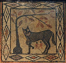 Mosaic depicting the She-wolf with Romulus and Remus, from Aldborough, about 300-400 AD, Leeds City Museum (16025914306).jpg