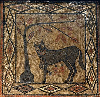 Isurium Brigantum - Mosaic depicting the She-wolf with Romulus and Remus, from Aldborough, (c.300 AD), Leeds City Museum (16025914306)